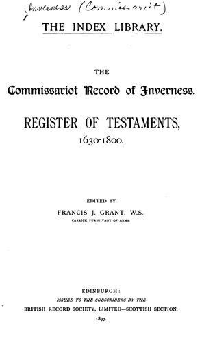 The commissariot record of Inverness by Inverness (Commissariot)