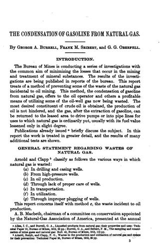 The condensation of gasoline from natural gas by George Arthur Burrell