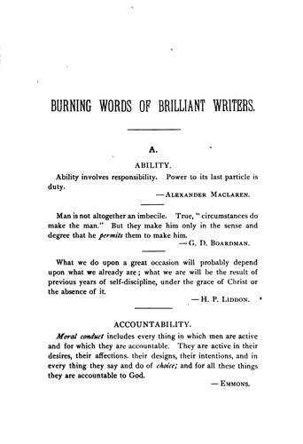 Dictionary of burning words of brilliant writers by Josiah Hotchkiss Gilbert