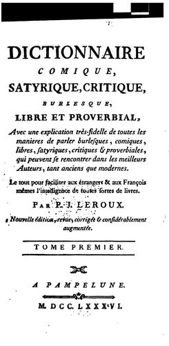 Dictionnaire comique by Philibert Joseph LeRoux