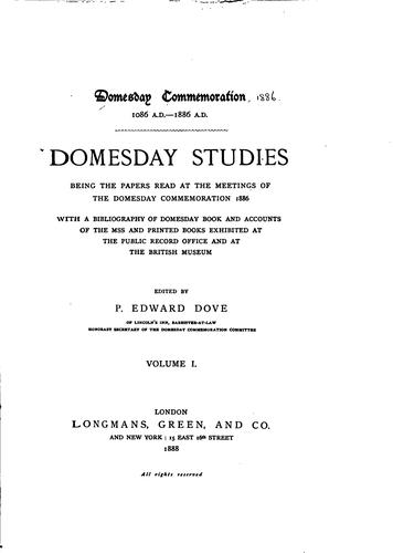 Domesday studies by Domesday commemoration, 1086 A. D. 1886 A. D.