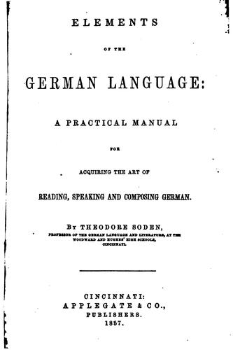 Elements of the German language by Theodore Soden