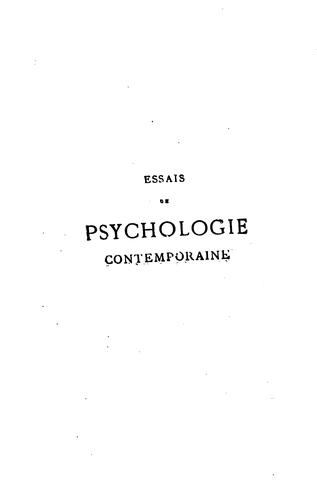 Essais de psychologie contemporaine by Paul Bourget