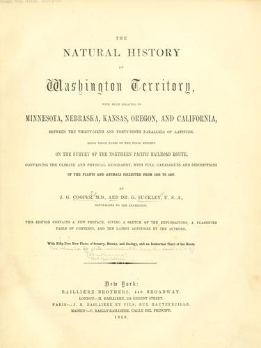 The natural history of Washington territory by Cooper, J. G.