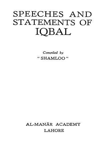 Speeches and statements of Iqbal by Sir Muhammad Iqbal