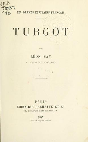 Turgot. by Léon Say