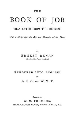 The book of Job by Ernest Renan