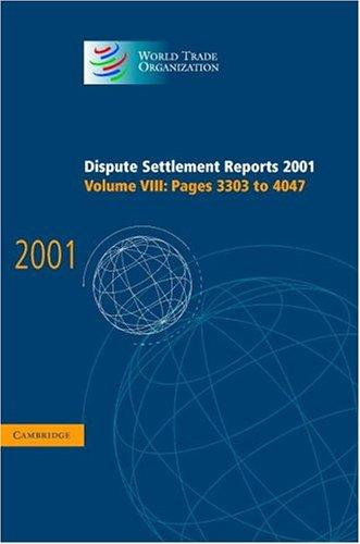Dispute Settlement Reports 2001 (World Trade Organization Dispute Settlement Reports)