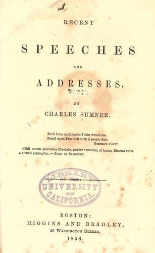 Recent speeches and addresses 181-1855
