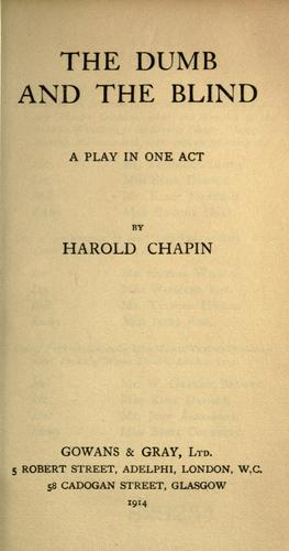 The dumb and the blind by Harold Chapin