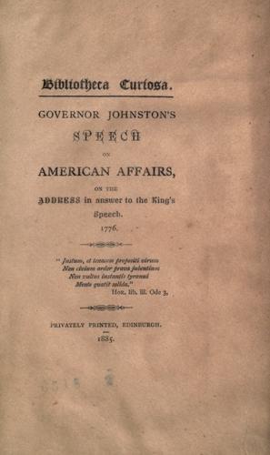 Governor Johnston's ! speech on American affairs
