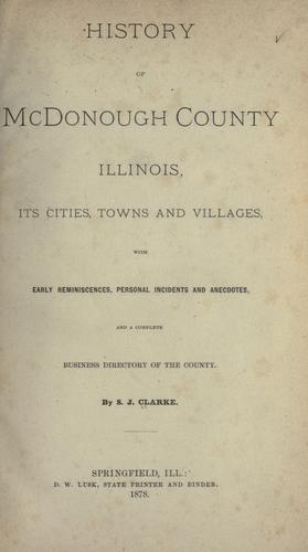 History of McDonough County, Illinois by S. J. Clarke