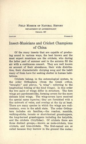 Insect-musicians and cricket champions of China by Berthold Laufer