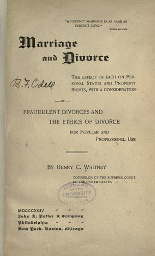 Marriage and divorce by Henry Clay Whitney