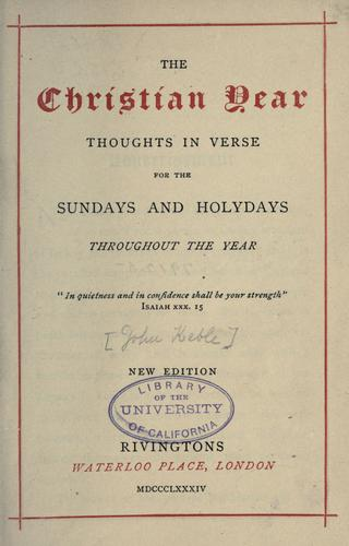 The Christian year by John Keble