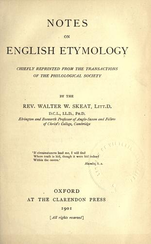 Notes on English etymology by Walter W. Skeat