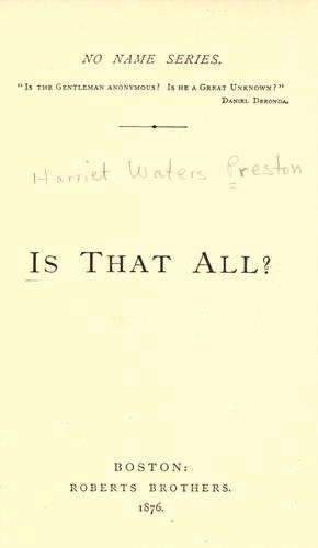 Is that all? by H. W. Preston