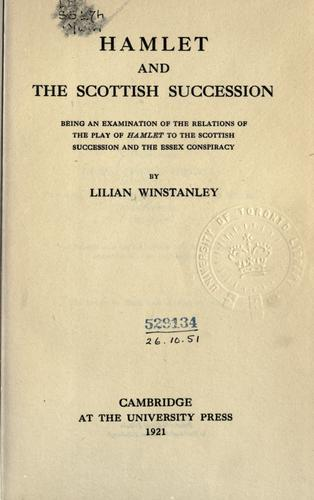 Hamlet and the Scottish succession by Winstanley, Lilian