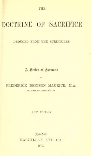 The Doctrine of Sacrifice by Frederick Denison Maurice
