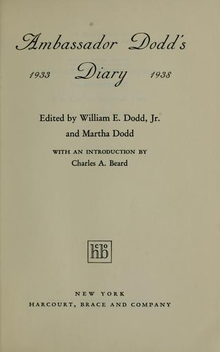 Ambassador Dodd's diary, 1933-1938