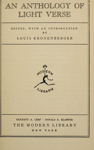 An anthology of light verse by Louis Kronenberger