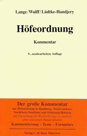 Höfeordnung für die Länder Hamburg, Niedersachsen, Nordrhein-Westfalen und Schleswig-Holstein